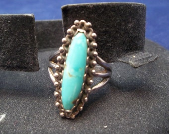 """Ring, Vintage Size 9"""" Sterling Silver and Turquoise"""