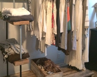 Wood and pipe rolling clothes rack