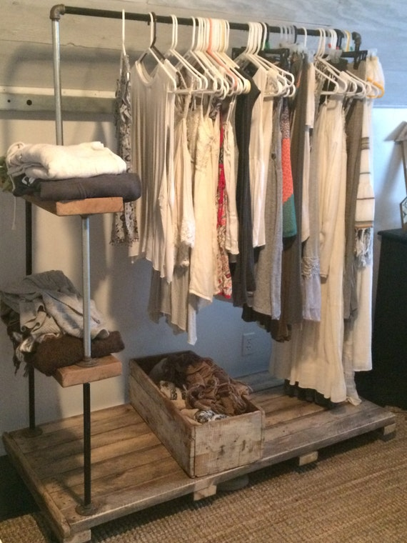 Items Similar To Wood And Pipe Rolling Clothes Rack On Etsy