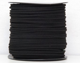 Black faux suede cord 3mm Jewelry supplies Jewelry cord  Suede rope Suede thread Craft project / 2 meters