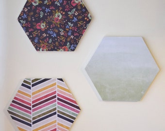 Patterned Hexagons | Set of 3 Hexagons | Trendy Home Decor | Gallery Wall | Teenage Room Decor | Patterned Hexagon Wall Hangings