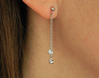 Zircon threader earrings,Silver chain earrings, Sterling Silver Threader Earrings,Delicate ear threader earrings ,07TH