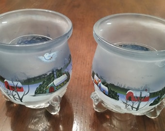 90's Christmas Scene Candle Holders, Set{2}, Hand Painted, Heavy. Glass