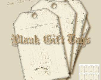 Blank tag,Printable tag,Gift tag,Hobby crafting,Torn tags,Digital collage sheet_Instant Download