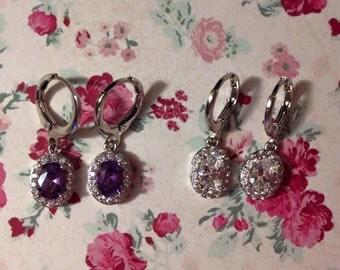 Amethyst cubic zirconia earrings