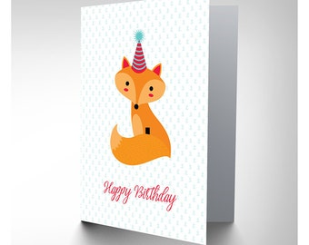 Card Birthday Kids Party Hat Fox CP2976