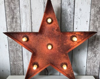Star Rusted Light - Retro home decor Star / Vintage Lighting / Steel Star / 55cm H - Dimmable