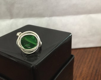 Green Ring Wire Wrapped - Size 7.5