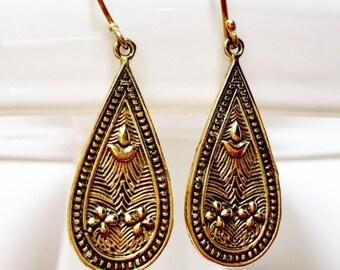 Garden of Eden Solid Brass Dangle Earrings