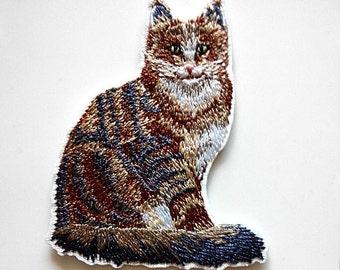 Feline Cat Tabby Craft DIY Iron On Patch