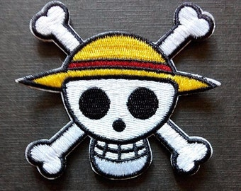 One Piece Logo Anime Skull Iron On Patch