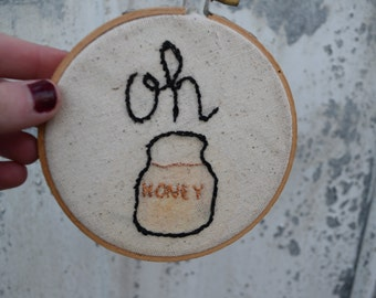 oh honey embroidered circle