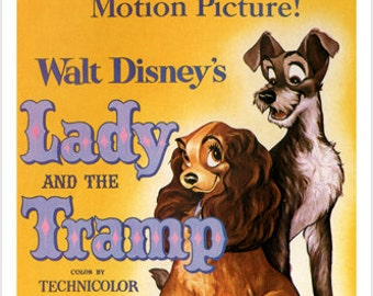 Walt Disney's Lady And The Tramp Movie Poster 1955 24x36 Vintage Cartoon