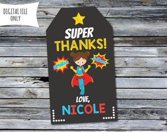 Superhero Thank You Tags / Girls Superhero Party Bag Tags (Personalized) Digital Printable File