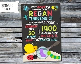 Bug Invitation / Bug Birthday Invitation / Insect Invitation (Personalized) Digital Printable File