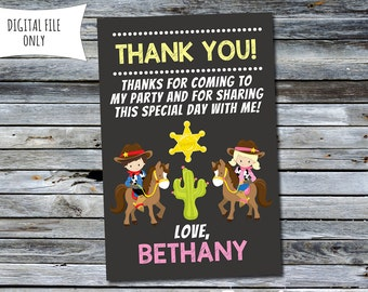 Cowgirl / Cowboy Thank You Card (Personalized) Digital Printable File