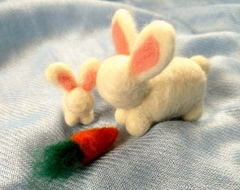 Mama & Baby Bunnies with Carrot (needle felted/Waldorf-Inspired)