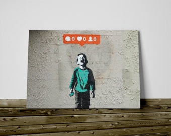 Bansky print on canvas cm 50 x 70 social networks already framed and ready to hang