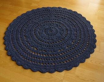 """Dark blue round crocheted rug """"Flower"""", diameter approx. 130 cm/51 inches"""