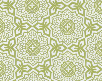 Clearance sale!! 1 Full Yard Joel Dewberry Botanique Mosaic Bloom Asparagus Cotton, Olive Green Fabric, PWJD087.ASPAR