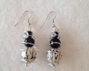 Black and white spiral earrings