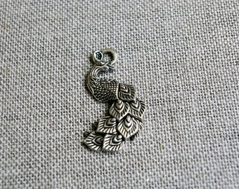 Peacock art nouveau antique silver metal, bird pendant, charm accessory jewel