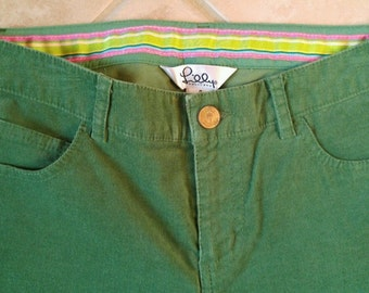 Lilly Pulitzer Green Lightweight Corduroy Pants Size 0