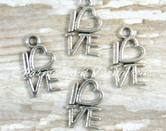 10 pewter Stacked Love charms (CM110)