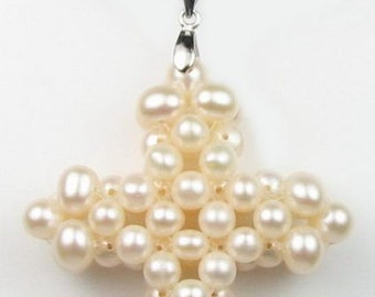 White pearl pendant, cross cultured pearl pendant, fresh water cluster pearls, genuine pearls leather cord pendant necklace, F1870-WP