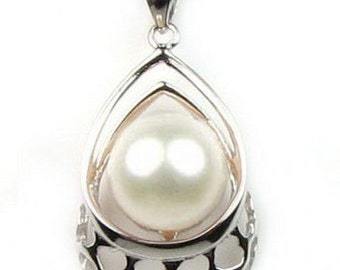 White pearl pendant, 925 sterling silver pearl pendant, freshwater pearl pendant chain necklace, real pearl jewelry, 9-10mm, F2210-WP