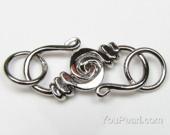 Spiral sterling silver clasps, S-hook clasp, silver findings, rhodium plated pearl clasp, hook clasp connector, DIY jewelry, CS4010