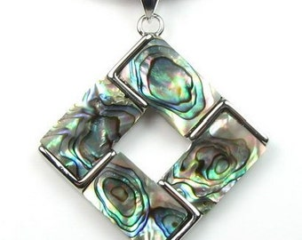 Abalone shell pendant, natural shell square pendant, paua abalone pendant necklace, sea shell pendant, leather cord shell jewelry, SH1420-AP