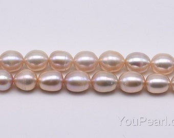8-9mm freshwater pearl, lavender rice pearl strands, large hole pearls available up to 2.5mm, genuine natural pearl bead supply, FM600-LS