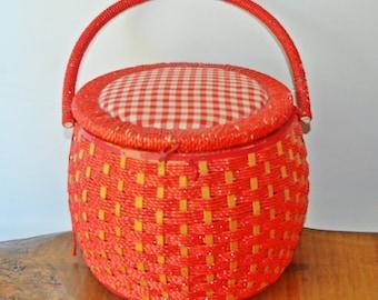 Sewing Basket, Vintage Red Sewing Basket, Red Wicker Basket