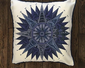 Beach house decor - Blue Nautical Star - Blue pillow cover nautical cushion cover beach house beach decor Coastal Living Coastal Home Decor