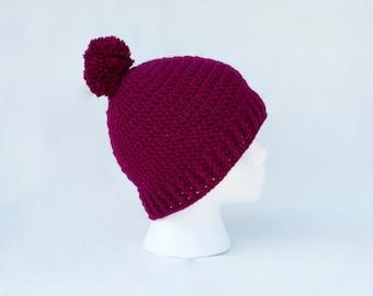 Magenta crochet beanie hat - crochet beanie hat - crochet newborn beanie