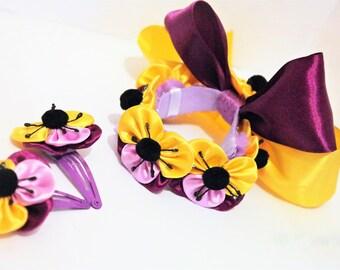 clip set hair accessories girls accessories gymnastics hair clips spring flower flower girl pansies hair flowers flower hair piece hair set