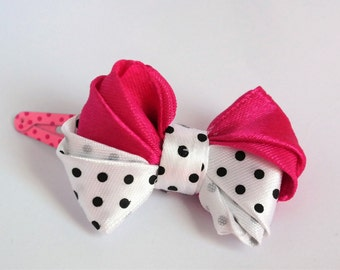 pink hair clip, women hair clips, bow clip for hair, hair bow for girls, hair bow clip, polka dot bow for girls, small bow for baby