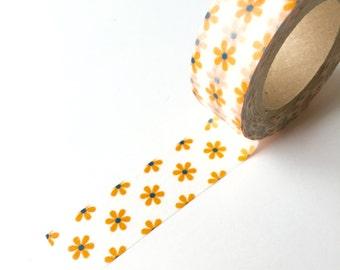 Washi Tape - Orange Flower - Masking Tape - 1.5cm x 10yd (9.1m)