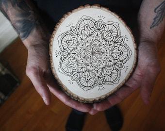 "Mandala wood-burned wall hanging, ""Aura"""