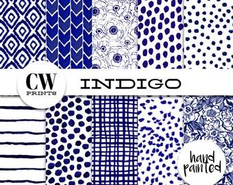 Indigo Digital Paper Pack: 12x12 inch paper, 10 indigo patterns, indigo grid, florals, flower, Digital Background Paper, Digital Printables,