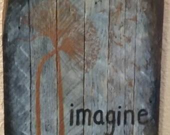 Wooden Imagine Sign