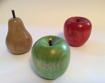 Turned timber apples and pear