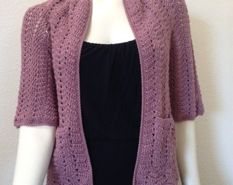 Made to order - Crochet Chevron Lace Cardigan, Crochet Women Cardigan, Summer Cardigan, Rose Color Cardigan, Women Outfit, Women Coat