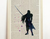Sephiroth Final Fantasy Watercolor Black Video Game Nursery Kids Cloud Home Decor Dark Wall Art Upcycled Dictionary Book featured image