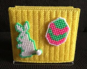 Plastic Canvas Napkin Holder-Handmade-Easter-Bunny-Egg