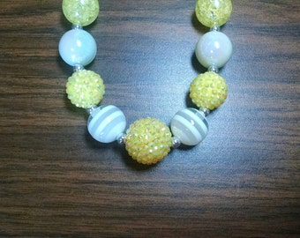Yellow and White Everyday Toddler Bubblegum Necklace