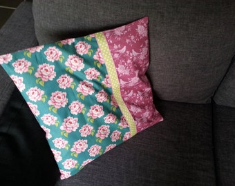 Vintage green and pink Cushion cover