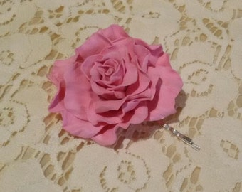 Flower hair bobby pin. Pink Rose  Foam