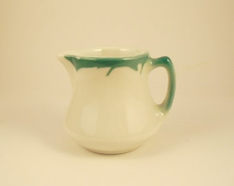 Vintage White Creamer, Jackson China, White Creamer with Green Airbrush, Small Pitcher, Restaurant Ware, Single Serving, Kitchen Collectible